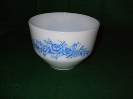 """Vintage Federal Glass Mixing Bowl """"Blue Roses"""" - $30.00"""