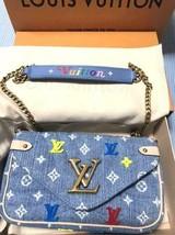LOUIS VUITTON Pochette Chain Bag Wallet Pouch Denim Monogram Auth New Un... - $2,068.75