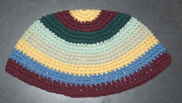 Frik Kippah Yarmulke Yamaka Crochet Colorful 100% Cotton Striped Israel 22 cm