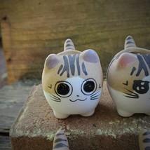 "Ceramic Cat Planters, set of 6, 2.5"" Animal Pots, Emotion Face Kitten Kitty image 4"