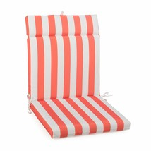 "Coral Striped Outdoor Patio Chair Cushion Pad Hinged Seat Back 44"" L x 2... - $58.90"