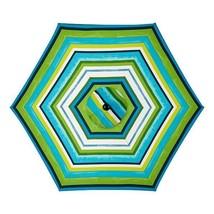 Blue Green White Stripe 6ft Deluxe Patio Umbrel... - $123.95