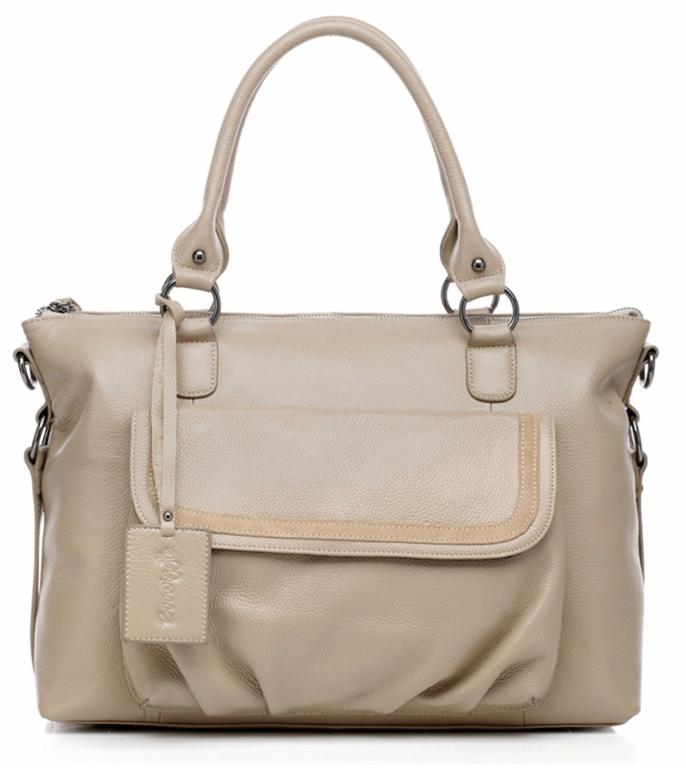 New Beige Light Brown Pebbled Italian Leather Diaper Bag Mommy Baby Bag