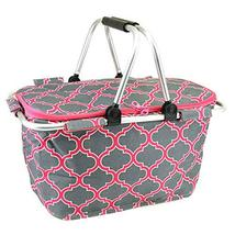 scarlettsbags Quatrefoil Print Metal Frame Insulated Market Tote Pink Gray image 2