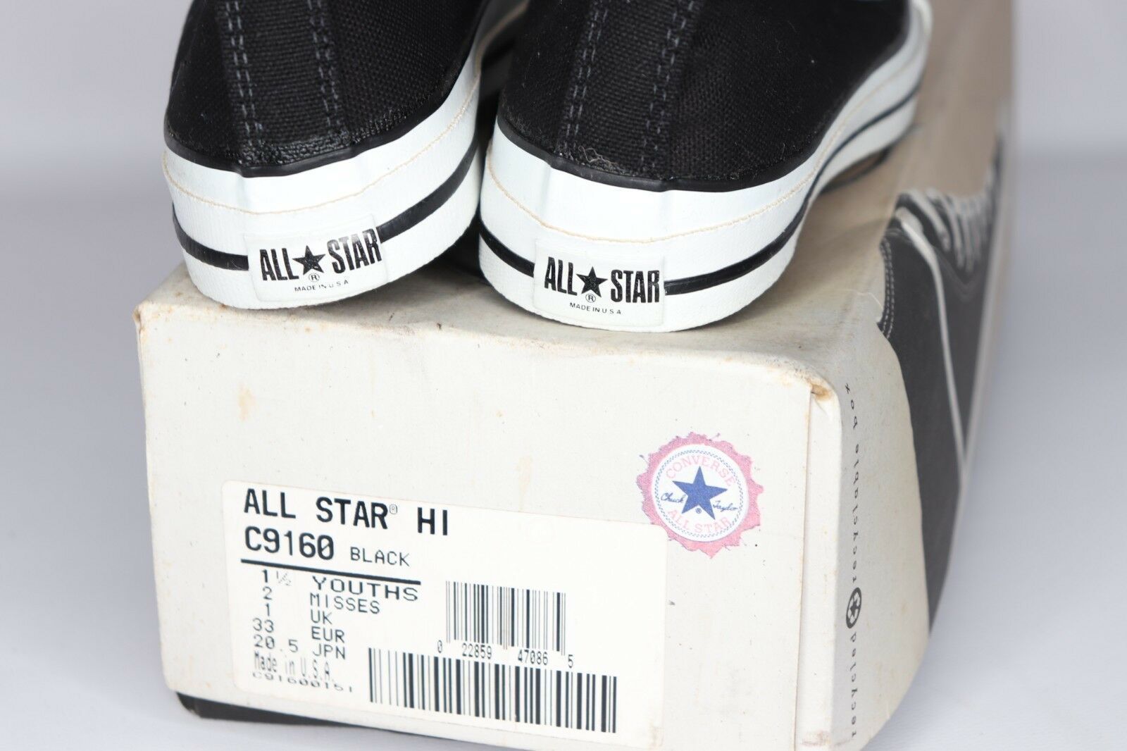 Vintage 90s New Converse Chuck Taylor Youth 1.5 All Star Hi Shoes Black USA Made