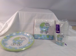 """NEW Baby Boy Shower Party 3 pc Lot 12 Cups 20 Napkins 18 Plates 8.75"""" di... - £8.03 GBP"""