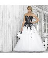 Luxury Sequined Applique Sweetheart White and Black Wedding Dress - $299.00
