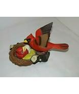 Breezy Singer Cardinal Takara 1992 Red Bird w Baby in Nest Chirps Hard t... - $40.54