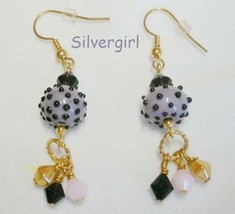 Bumpy Dotted Lampwork Dangle Earrings Aqua Purple - $7.10+