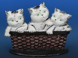Vintage c1975 Cast Iron Doorstop Green Eyed Kittens Cats in a Basket
