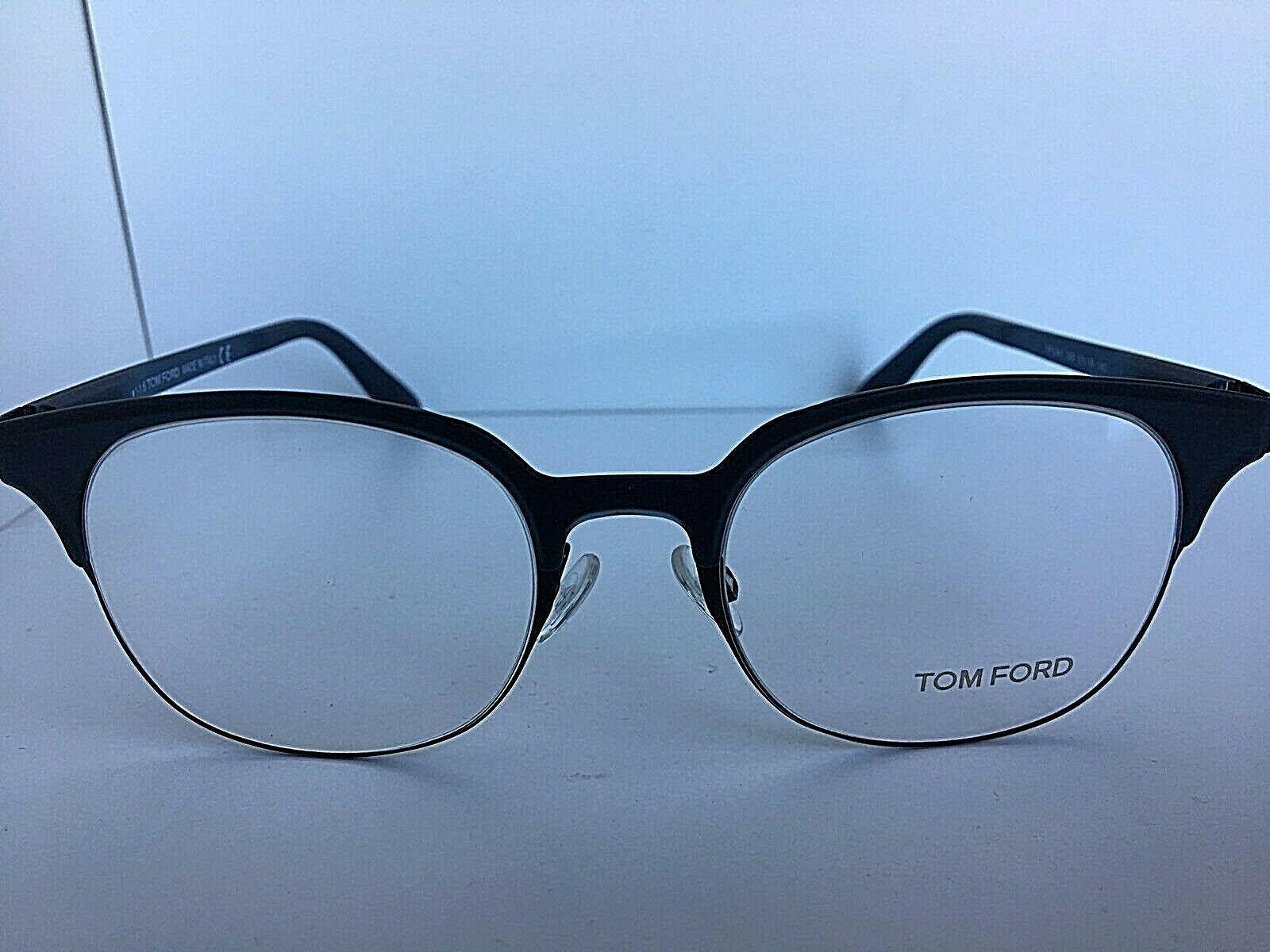 New Tom Ford TF 5347 TF5347 089 Black 51mm Clubmaster Eyeglasses Frame Italy