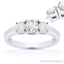 Forever Brilliant Round Cut Moissanite 3-Stone Engagement Ring in 14k White Gold - €620,31 EUR - €2.481,27 EUR