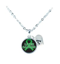 Custom Liver Cancer Awareness Ribbon Silver Necklace Jewelry Initial Family - $13.94