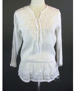 RALPH LAUREN Size XL 14 16 White Embroidered Airy Peplum Tunic Top - $39.00