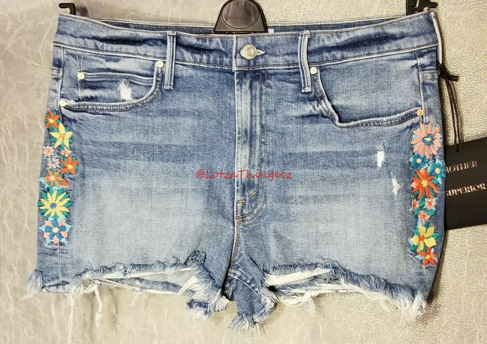 MOTHER The Dutchie Chew Shorts Sz 31 Misbeliever Embroidered Floral NEW