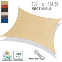 SUNNY GUARD 13' x 19.5'Rectangle Sun Shade Sail UV Block for Outdoor Patio Garde