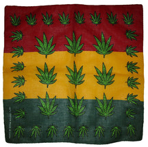 "22""x22"" Jamaica Multiple Weed Marijuana Leaf Rasta 100% Cotton Bandana - $6.88"