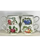 Portmeirion Pomona Romantic Footed Cups Set 4 Fruit Cherry Peach Apple P... - $47.49