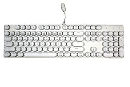 Abko Hacker K840 English Korean Blue Switch Wired Gaming Retro Keyboard (White) image 3