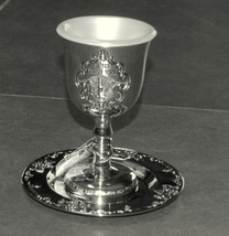 Judaica Kiddush Cup Goblet Saucer Nickel Plated Shabbat Blessing Engraved  image 3