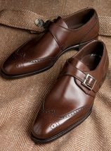 Handmade Men's Brown Heart Medallion Monk Strap Leather Shoes image 4