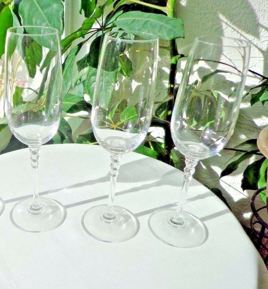 Primary image for Set of 3 Crystal Champagne Flutes Triple Ball Stem