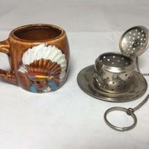 Vintage Golden Aspen by Thrifco, Japan - Tea Infuser and Mini Tea Cup Set - $14.52