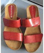 Chocolat Blu Breeze Wedge Red Leather Sandal Size EUR 38/ US 8  - $29.95