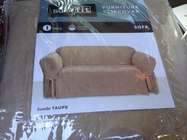 Sure Fit Sofa Slipcover Suede Taupe Washable One Piece New Khaki Tan - $35.99
