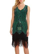 Women's 1920s Inspired Art Deco Gatsby Dresses- Vintage Sequin Fringed C... - $43.33