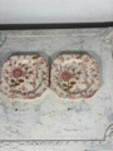 "2 Johnson Brothers England 7.50"" Plates China Rose Chintz Square  - $34.99"