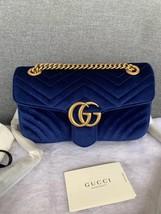 NEW Authentic GUCCI MARMONT MEDIUM ROYAL BLUE VELVET FLAP BAG  image 4