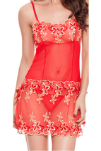 Unomatch Women Silver Decorated Sheer Lace Lingerie Red - $19.99