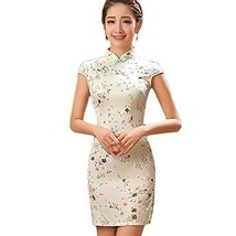 PANDA SUPERSTORE Elegant Small Flowers Design Cheongsam Short Cheongsam Dress(La