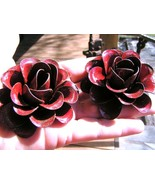 TWO Large metal Red Roses flowers for embellishments and accents, iron art - $19.77
