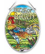 """Rooster Sun Catcher AMIA Break of Dawn 7""""x5"""" Hand Painted Glass New Chicken  - $30.06"""