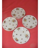 """4 Meito Garden Rose Ivory China 7.75"""" Salad Plates Occupied Japan - $29.95"""