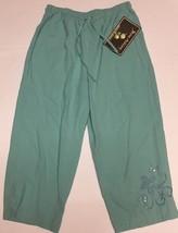 Jane Ashley Casual Lifestyle Lime Aqua Capri Pants Sz L Drawstring image 5