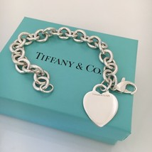 """8"""" Tiffany & Co Silver Blank Heart Tag Charm Bracelet Authentic - $215.00"""