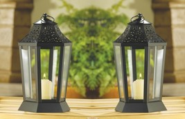 2 Midnight Black Garden Candle Lanterns w/ Clear Glass, Cutouts & Glossy... - $34.60