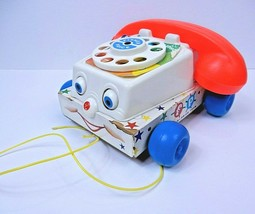 Vintage 1961 Fisher Price Chatter Telephone 747 Pull Toy Wood Moving Eye... - $7.74