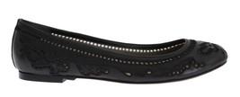 Dolce & Gabbana Women Black Leather Ricamo Ballet Flat Shoes EU40/US9.5 - $275.04