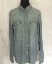 Levis Denim Jean Shirt Pearl Snaps Studded Pocket Collar Rodeo Western C... - $43.56