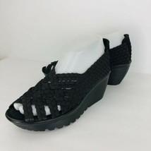 Skechers Memory Foam Black Woven 5.5 Shoes Comfort Walking Wedge Heels Peep Toe - $44.54