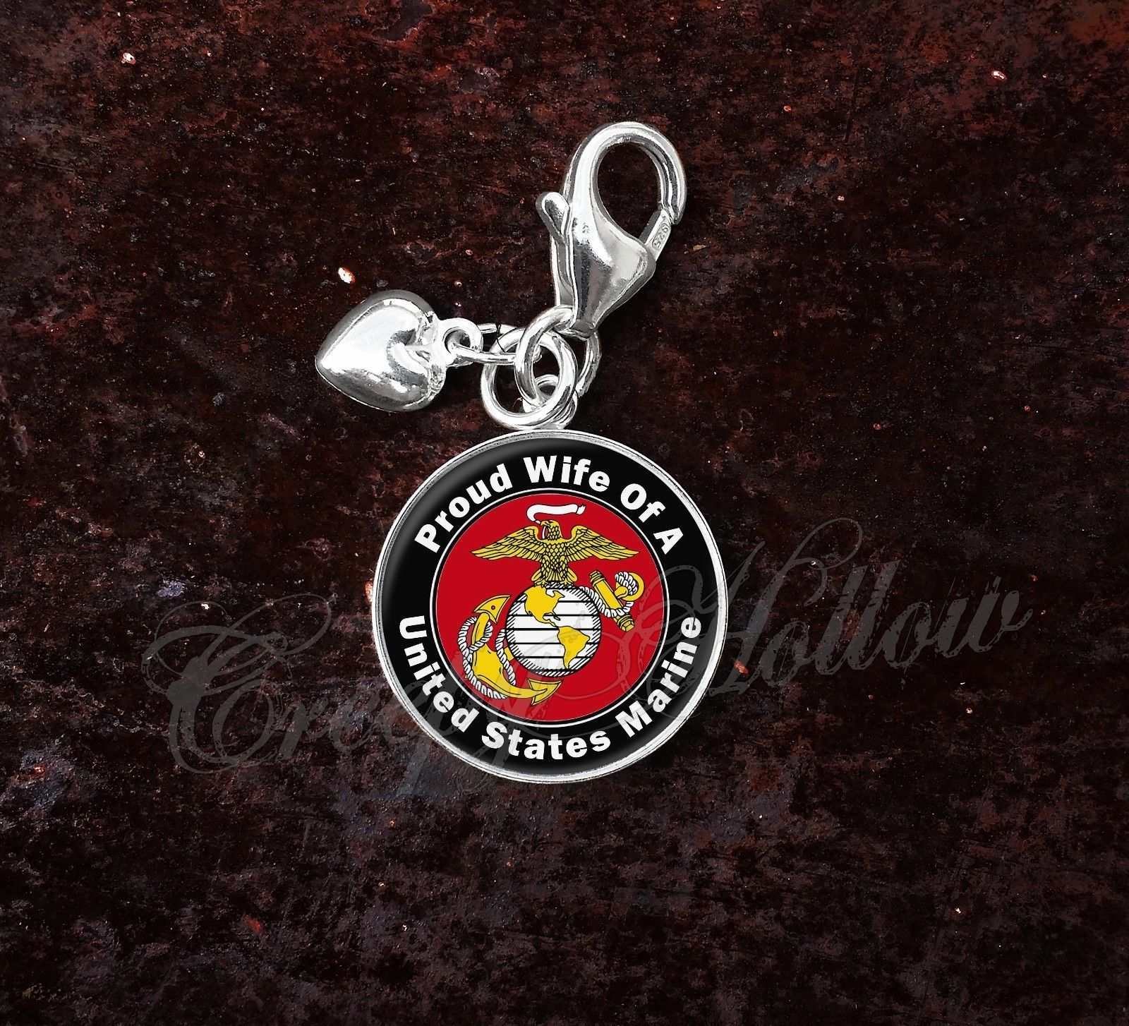 Sterling Silver Charm United States Marine Proud Choose Family