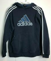 Adidas Mens Black Medium Pull Over Hoodie Sweatshirt Spellout Hoody Striped - $23.77