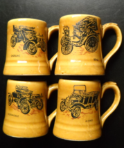 Veteran Cars Series Shot Glasses Lot of Four Mini Mug Ceramic Gift Ideas Japan - $14.99