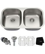 KRAUS Undermount Kitchen Sink 32 in. 50/50 Double Bowl Insulated Stainle... - $251.99