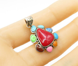 925 Sterling Silver - Multi Color Gemstone Surrounded Accents Pendant - P1316 - £19.24 GBP