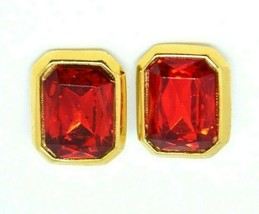 Red Glass Rhinestone Large Gold Tone Vintage Clip Earrings - $19.79